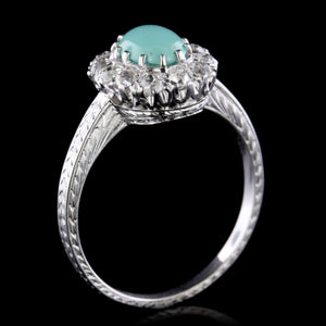 Art Deco 18K White Gold Estate Turquoise and Diamond Ring