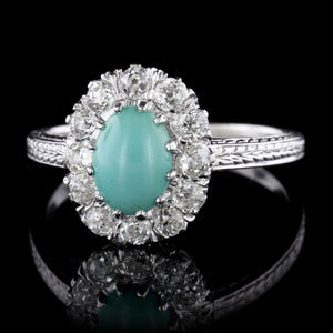 Art Deco 18K White Gold Turquoise and Diamond Ring