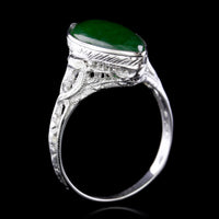 Vintage 18K White Gold Jadeite Ring