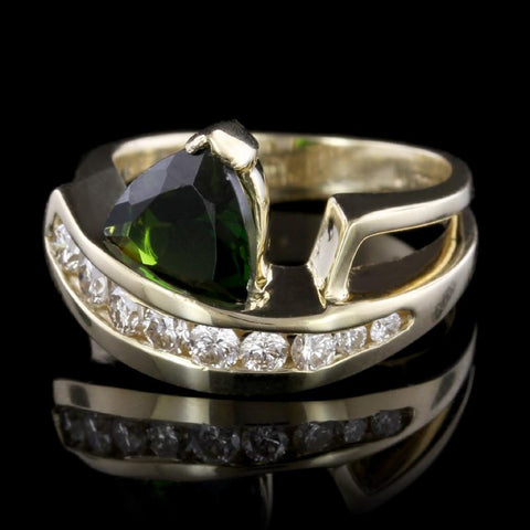 14K Yellow Gold Green Tourmaline and Diamond Ring