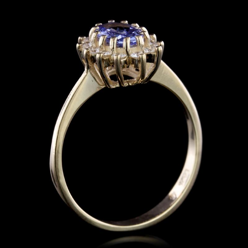 14K Yellow Gold Estate Tanzanite and Diamond Ring