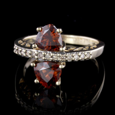 14K Yellow Gold Garnet and Brown Diamond Ring