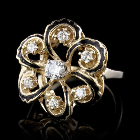 14K Yellow Gold Diamond and Enamel Ring