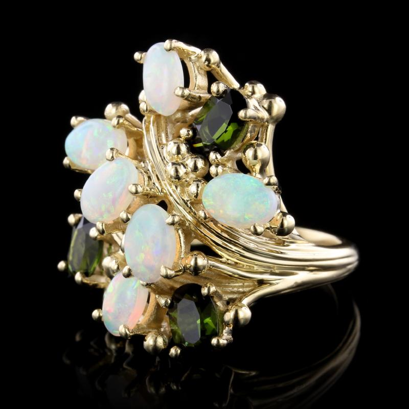 14K Yellow Gold Estate Opal and Green Tourmaline Ring
