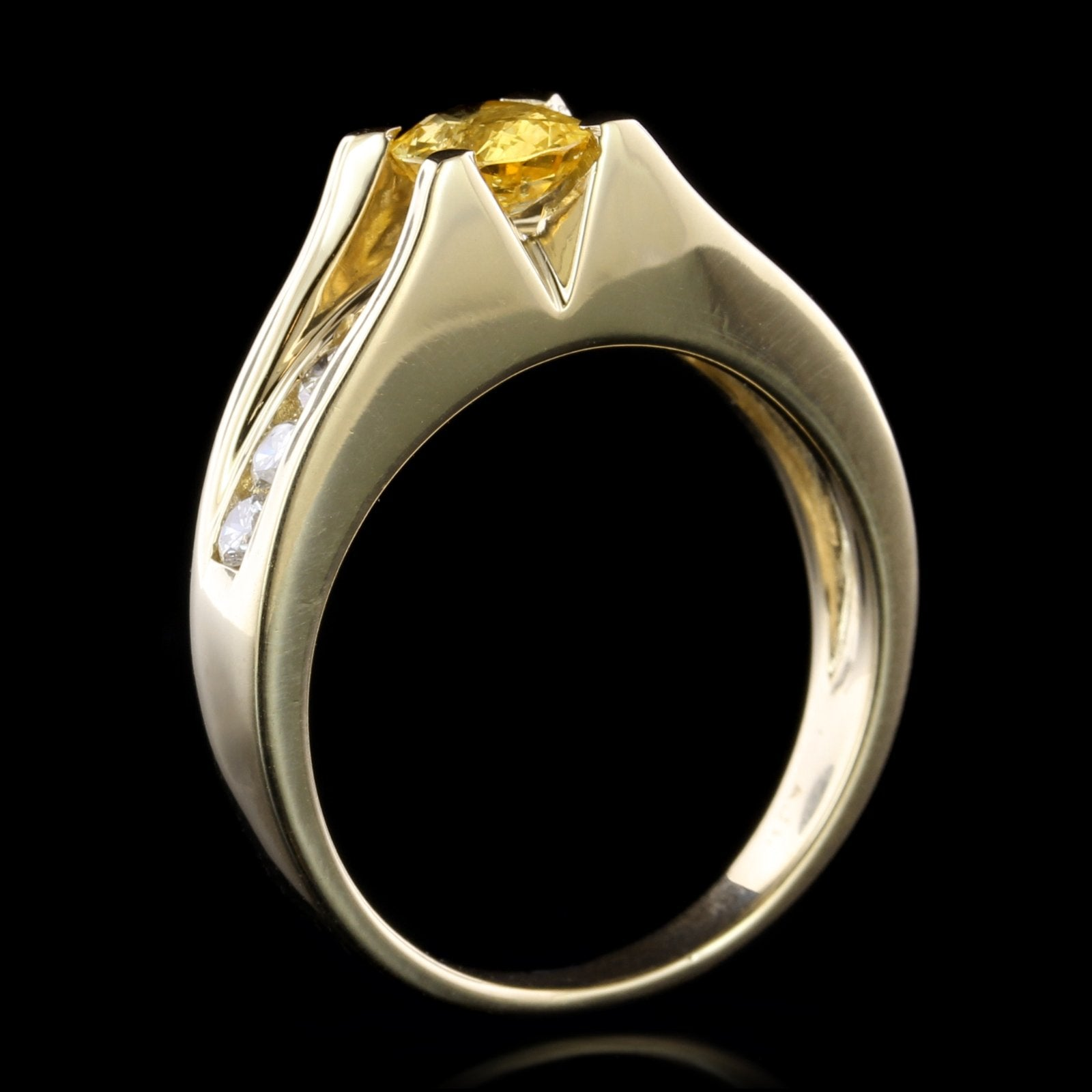 14K Yellow Gold Estate Yellow Sapphire and Diamond Ring