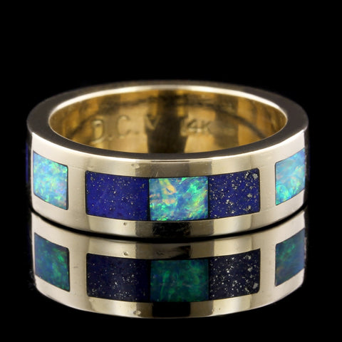 14K Yellow Gold Estate Lapis and Opal Inlayed Band