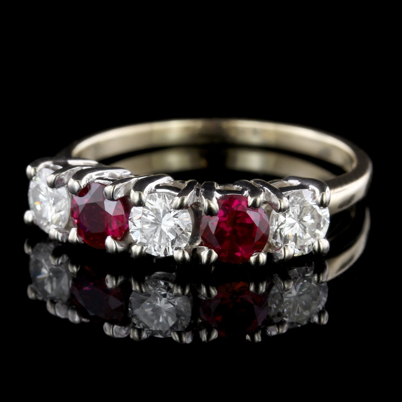 14K Two-Tone Gold Estate Ruby and Diamond Band