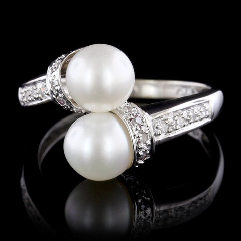14K White Gold Cultured Pearl and Diamond Bypass Ring