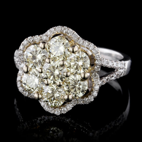 18K White Gold Light Yellow Diamond Ring