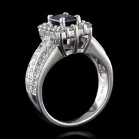 14K White Gold Sapphire and Diamond Ring