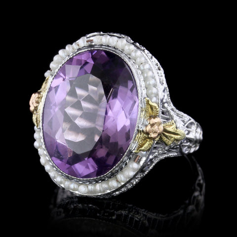 Vintage 14K Tricolor Gold Amethyst and Seed Pearl Ring