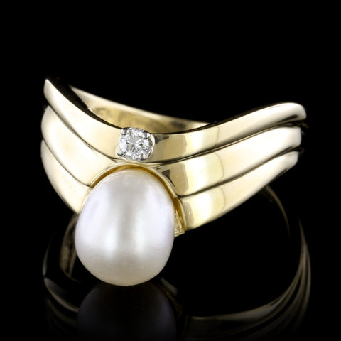 18K Yellow Gold Orchid Pearl Pin