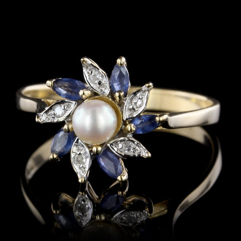 14K Yellow Gold Cultured Pearl, Sapphire and Diamond Ring