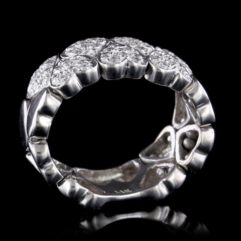 14K White Gold Estate Diamond Flexible Heart Ring