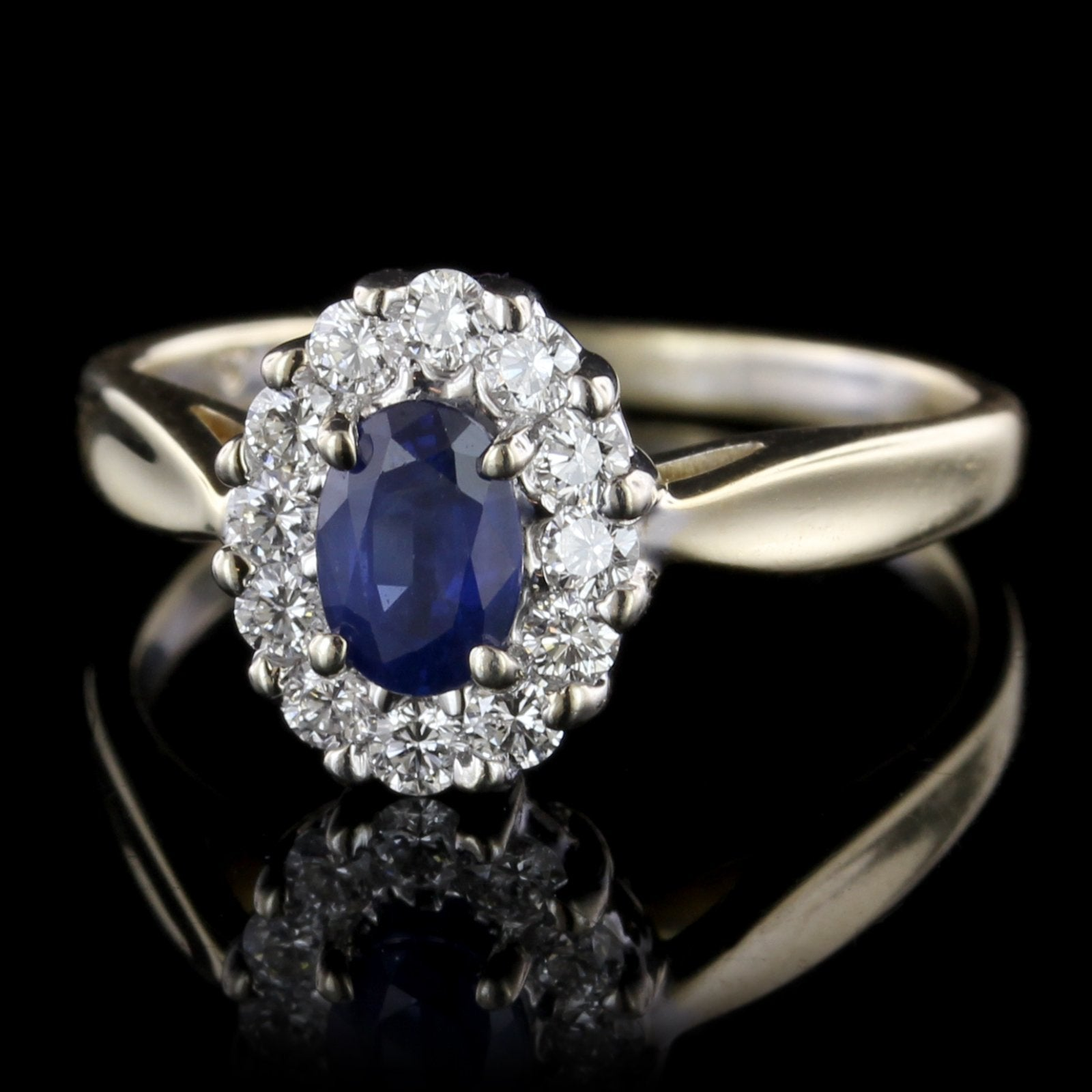 14K Two-Tone Gold Estate Sapphire and Diamond Ring