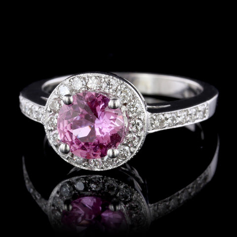 14K White Gold Estate Pink Sapphire and Diamond Ring