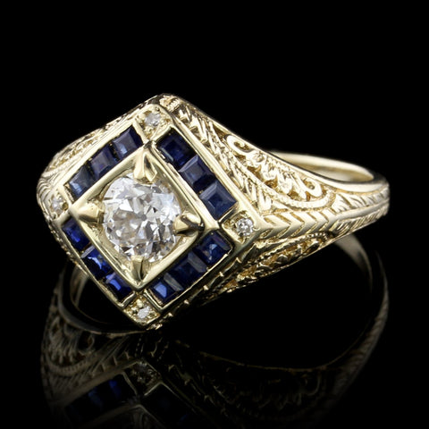 Vintage Style 14K Yellow Gold Diamond and Sapphire Ring