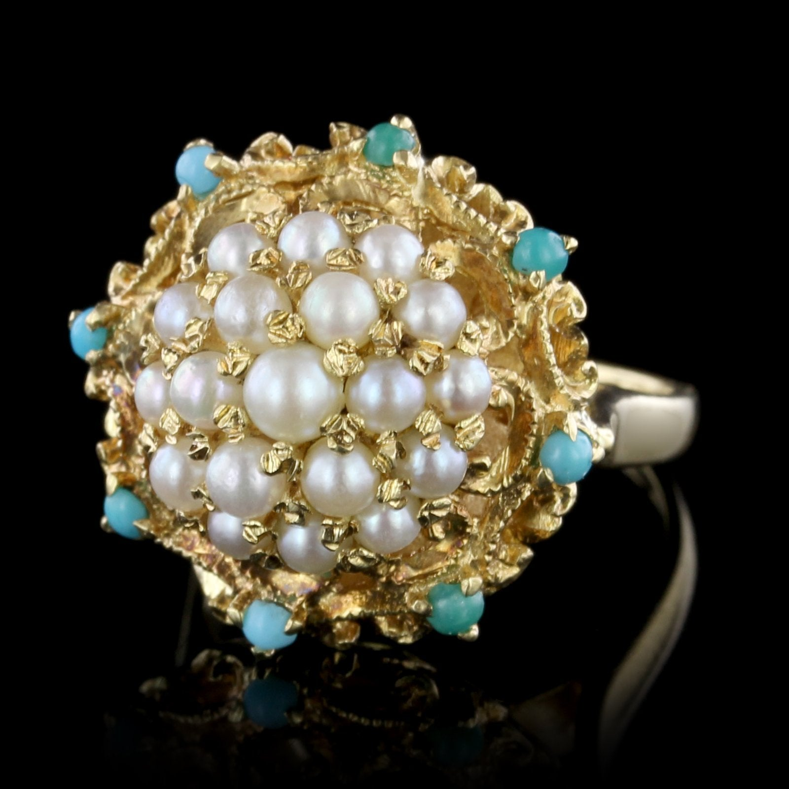 18K Yellow Gold Cultured Pearl and Turquoise Ring
