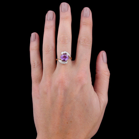 14K Two-tone Gold Amethyst and Diamond Ring