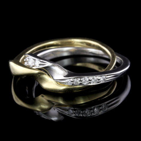 Platinum and 18K Yellow Gold Diamond Puzzle Ring