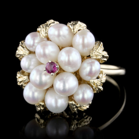 14K Yellow Gold Cultured Freshwater Pearl and Ruby Ring