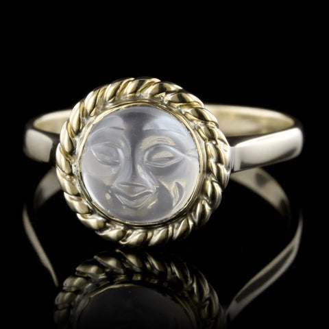 14K Yellow Gold Carved Moonstone Face Ring