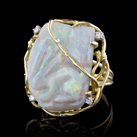 14K Yellow Gold Estate Carved Opal and Diamond Ring