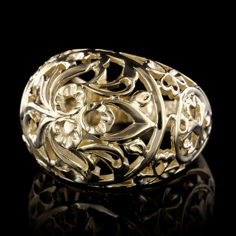 14K Yellow Gold Filigree Dome Ring
