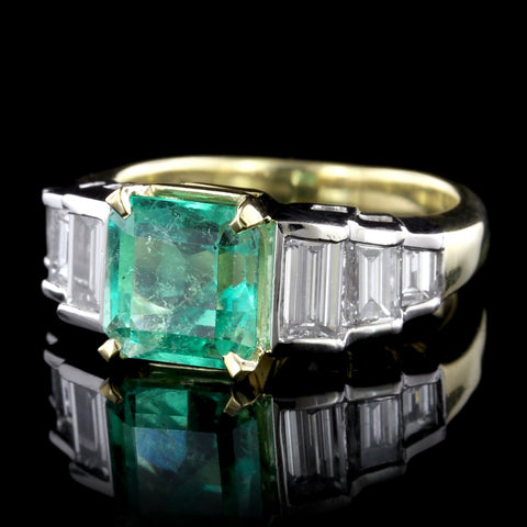 18K Yellow Gold, Platinum Emerald and Diamond Ring