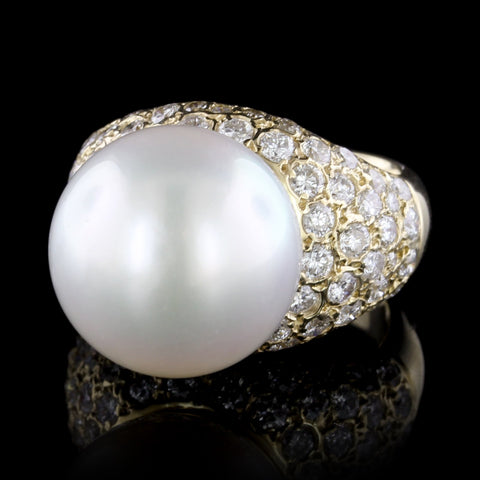 14K Yellow Gold Cultured South Sea Pearl and Diamond Ring