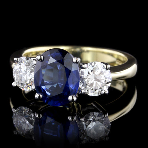 18K Yellow Gold, Platinum Sapphire and Diamond Ring