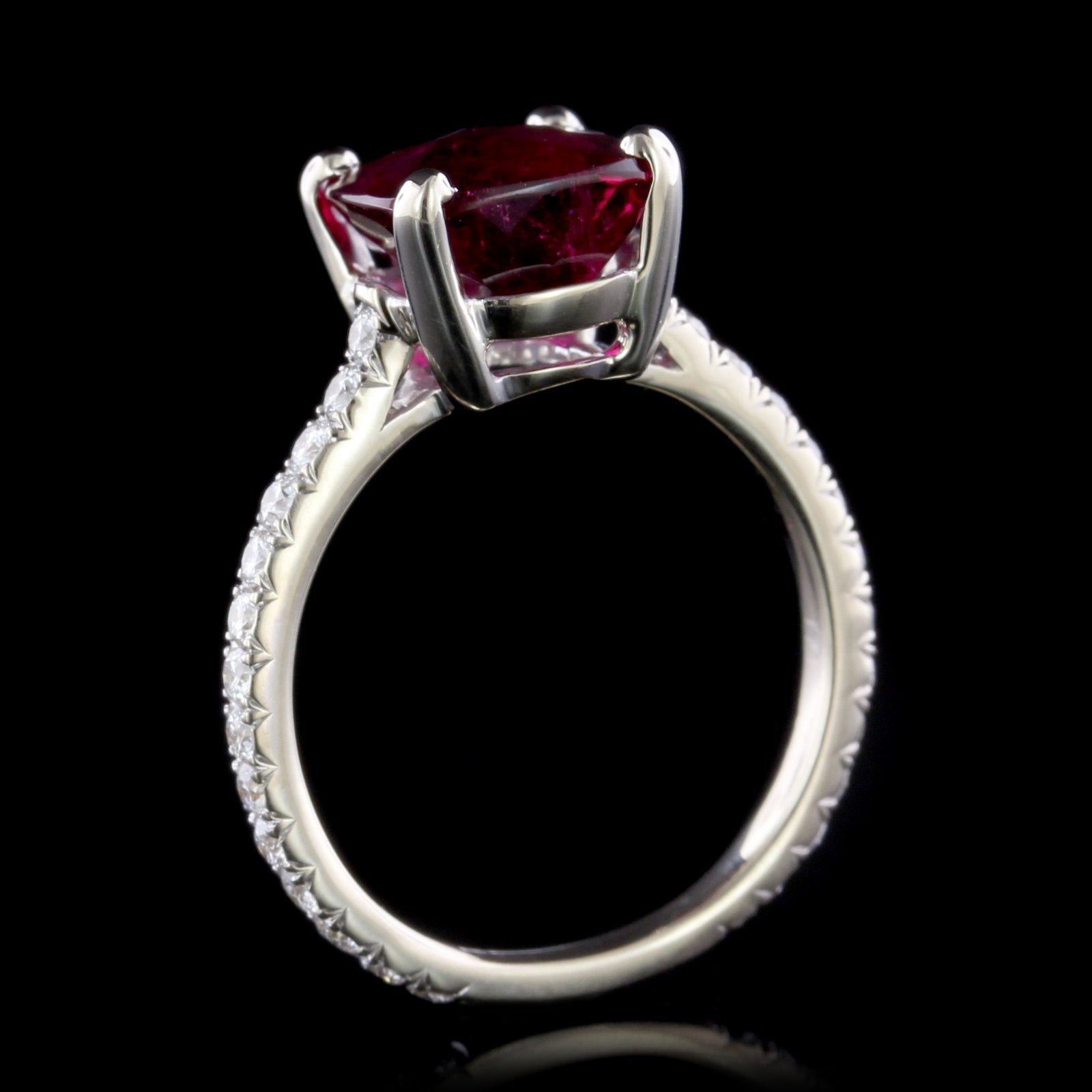 18K White Gold Pink Tourmaline and Diamond Ring