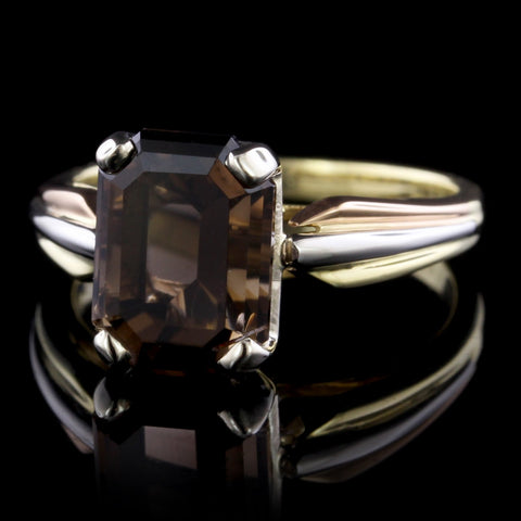18K Yellow and Rose Gold and Platinum Smoky Quartz Ring