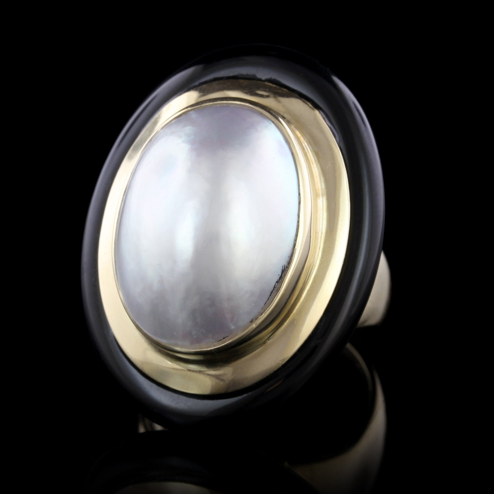 14K Yellow Gold Estate Cultured Mabe Pearl and Onyx Ring