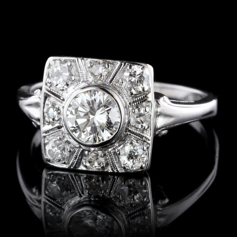 Vintage Style Platinum Diamond Ring
