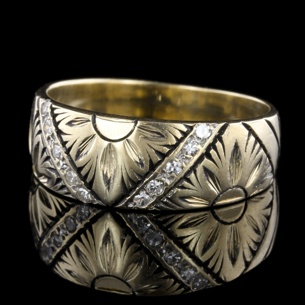 14K Yellow Gold Hand Engraved Diamond Band