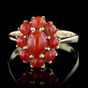 18K Yellow Gold Estate Coral Ring