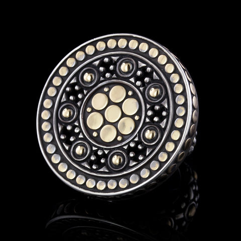John Hardy Sterling Silver and 18K Yellow Gold Estate Jaisalmer Dot Ring