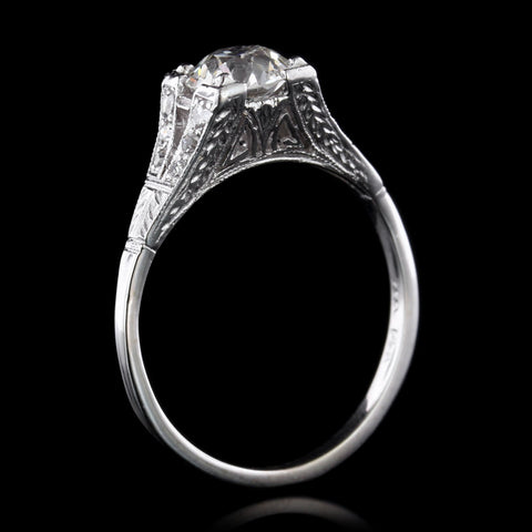Art Deco 14K White Gold Diamond Solitaire Engagement Ring