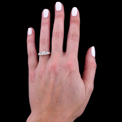 Art Deco Platinum Estate Diamond Engagement Ring