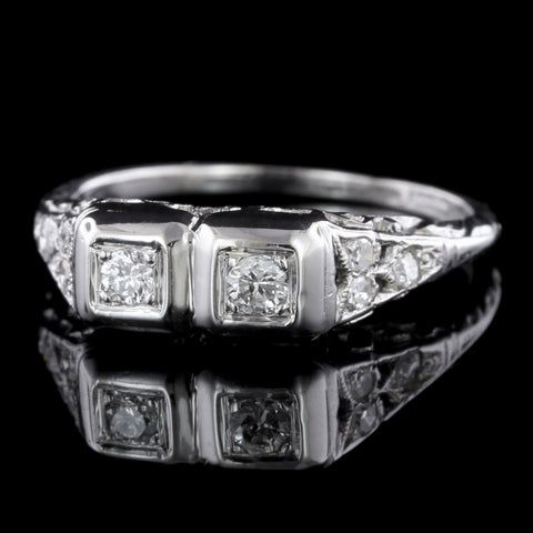 Vintage Platinum Diamond Twin Stone Ring