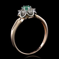 14K Rose Gold Estate Emerald and Diamond Ring