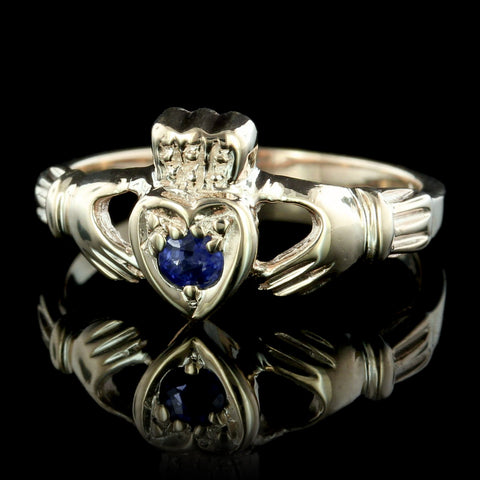 14K Yellow Gold Sapphire Claddagh Ring