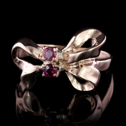 14K Rose Gold Ruby Bow Ring