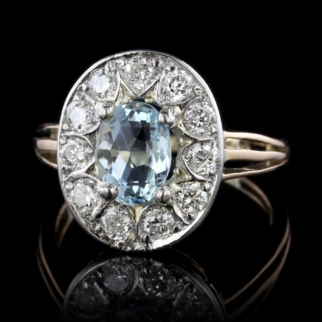 14K Two-tone Gold Blue Topaz and Diamond Ring