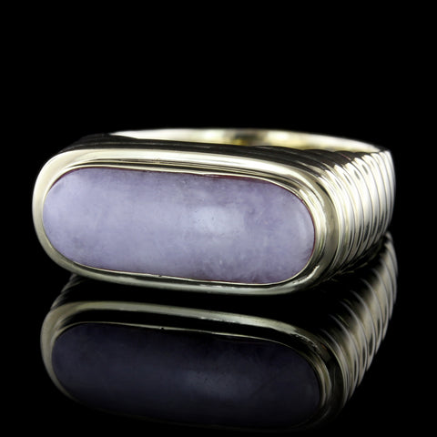 14K Yellow Gold Lavender Jadeite Saddle Ring
