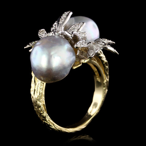 18K Two-tone Gold Cultured Baroque Pearl and Diamond Ring