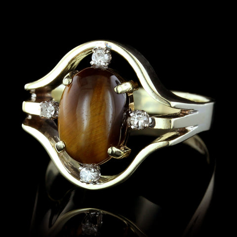 14K Yellow Gold Estate Tiger's Eye and Diamond Ring