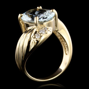 14K Yellow Gold Estate Aquamarine and Diamond Ring