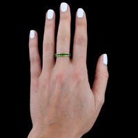 18K Yellow Gold Estate Green Enamel Band